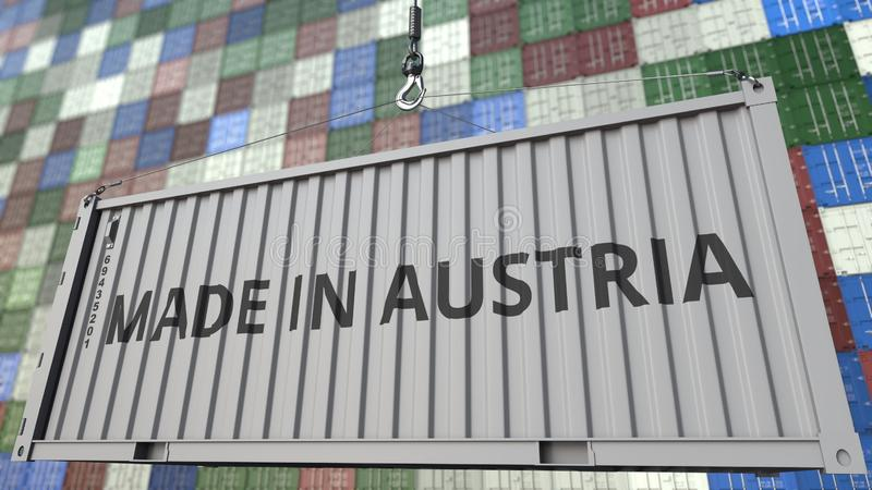 Loading container with MADE IN AUSTRIA caption. Venezuelan import or export related 3D rendering. Loading container with MADE IN AUSTRIA caption. Venezuelan royalty free illustration