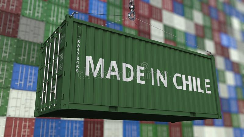 Loading container with MADE IN CHILE caption. Chilean import or export related 3D rendering. Loading container with MADE IN CHILE caption. Chilean import or vector illustration