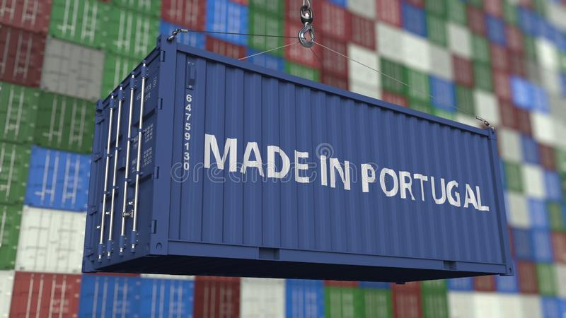 Loading container with MADE IN PORTUGAL caption. Portuguese import or export related 3D rendering. Loading container with MADE IN PORTUGAL caption. Portuguese royalty free illustration