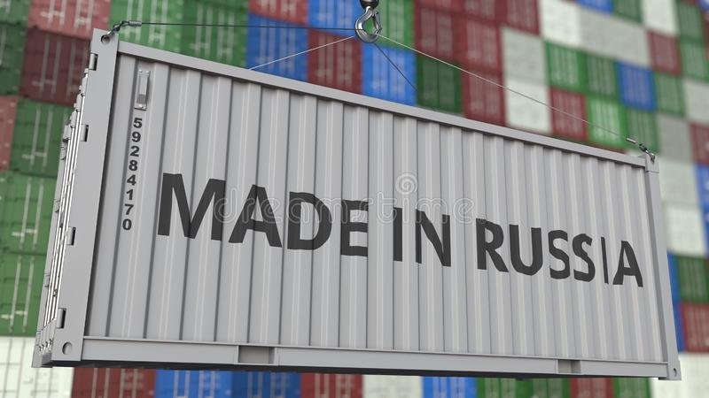 Loading container with MADE IN RUSSIA caption. Russian import or export related 3D rendering. Loading container with MADE IN RUSSIA caption. Russian import or vector illustration