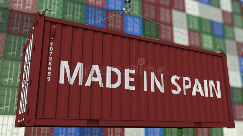 Loading container with MADE IN SPAIN caption. Spanish import or export related 3D rendering. Loading container with MADE IN SPAIN caption. Spanish import or stock illustration