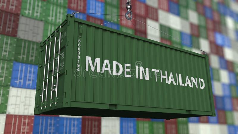 Loading container with MADE IN THAILAND caption. Thai import or export related 3D rendering. Loading container with MADE IN THAILAND caption. Thai import or royalty free illustration