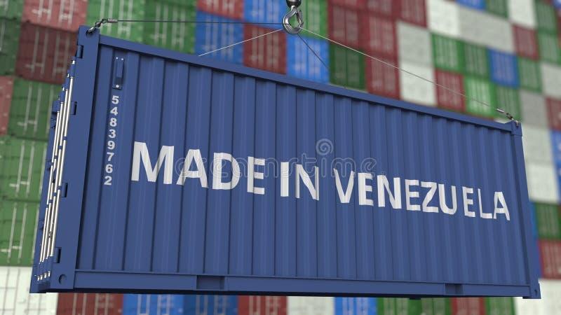 Loading container with MADE IN VENEZUELA caption. Venezuelan import or export related 3D rendering. Loading container with MADE IN VENEZUELA caption. Venezuelan stock illustration