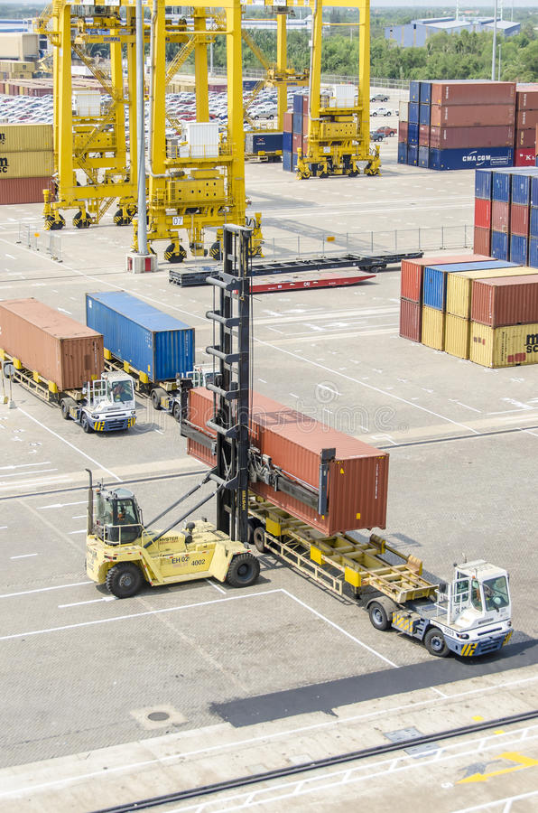 Loading container on trailer royalty free stock photography