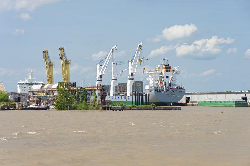 Loading Cranes and Machinery Aboard Ship at New Orleans Terminal stock photo