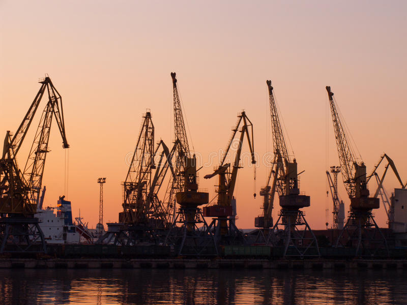 Loading cranes and railways royalty free stock images