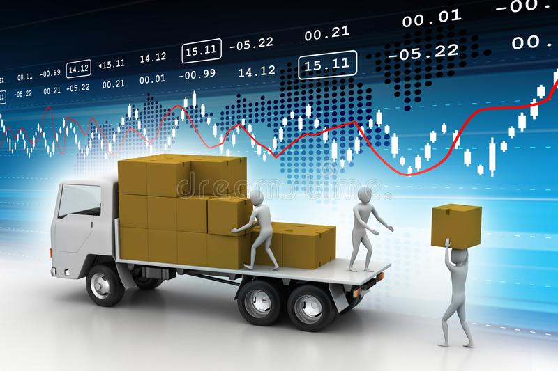 Loading and delivery of goods. Digital illustration of Loading and delivery of goods vector illustration