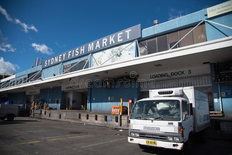 The loading dock area of Sydney Fish Market is, Fish Market incorporates a working fishing port, wholesale, fresh seafood retail. SYDNEY, AUSTRALIA. - On July stock photo
