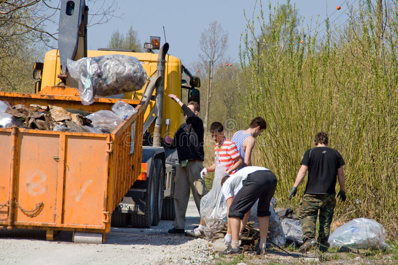 Loading garbage. 3rd of May 2008 – Big Clean-Up Day in Estonia; campaign Teeme Ära (Let's Do It), which aimed to collect up to 10,000 tonnes of stock photos