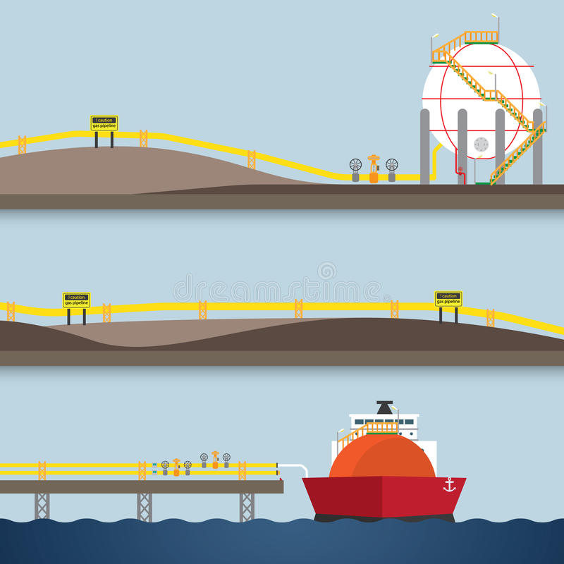 Loading gas. From ship in simple graphic royalty free illustration
