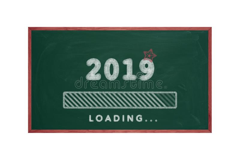 Loading of 2019 on green chalkboard, happy new year royalty free stock photos