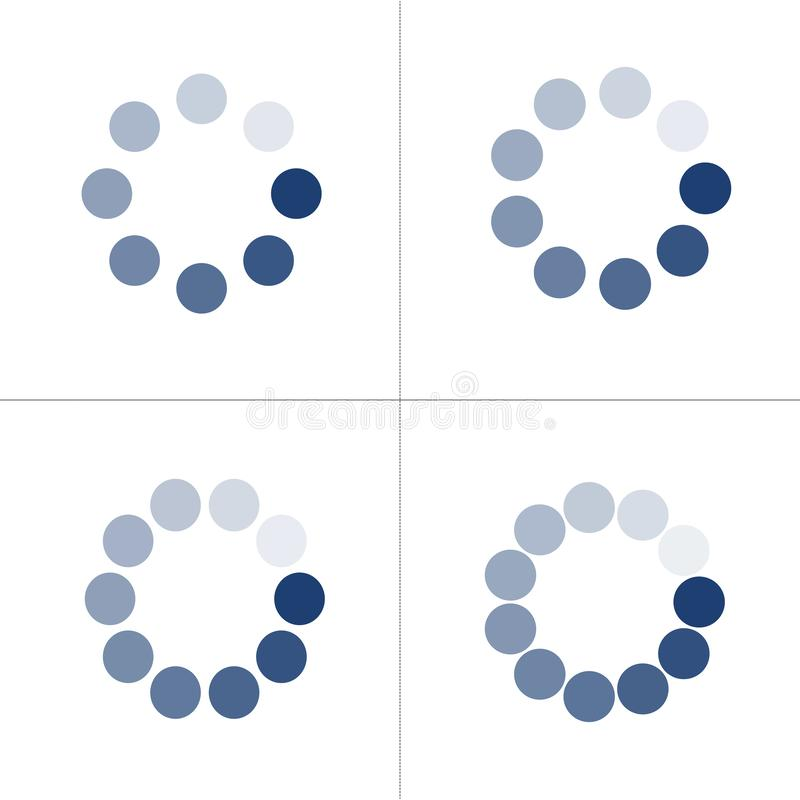 Loading icon set with different number of dots or circles. Buffer loader or preloader. Donload or Upload. Collection of simple web. Download stock illustration