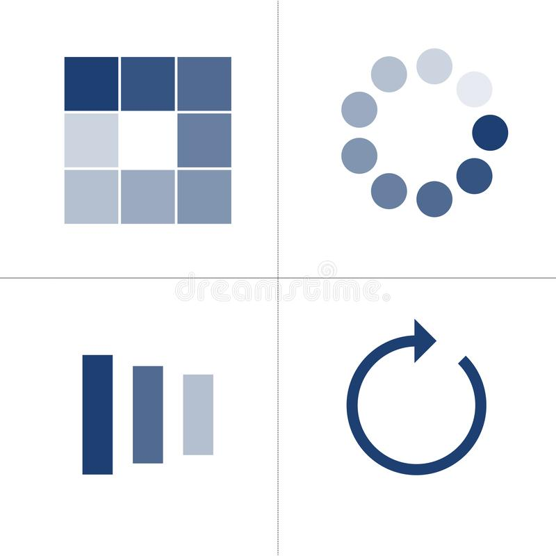 Loading icon set with different shapes square circle arrow. Buffer loader or preloader. Donload or Upload. Collection of simple. Web download stock illustration