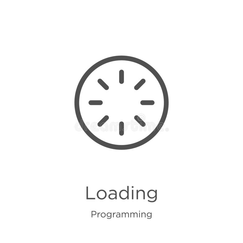 Loading icon vector from programming collection. Thin line loading outline icon vector illustration. Outline, thin line loading. Loading icon. Element of vector illustration