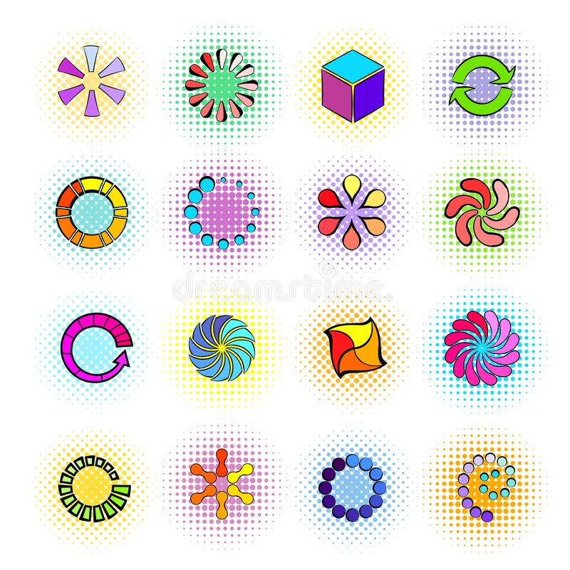 Loading icons in comics style. On a white background stock illustration