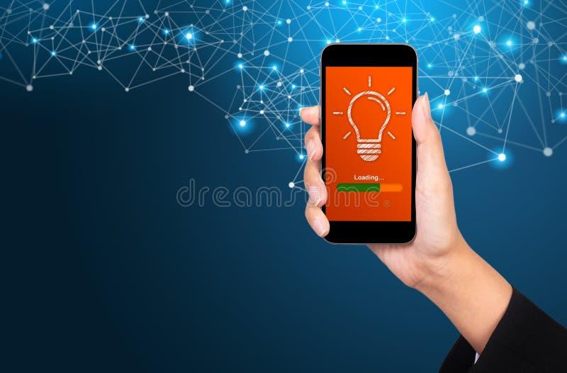 Loading idea concept. Loading idea on smartphone screen in businesswoman hand vector illustration