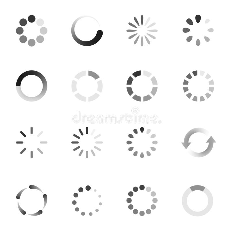 Loading indicator icon set, download symbol collection royalty free illustration