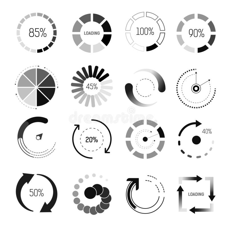 Loading indicators isolated icons, percentage and circle or square royalty free illustration