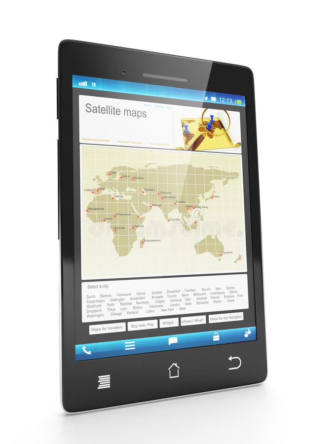Loading New City Maps On A Mobile Phone Royalty Free Stock Images