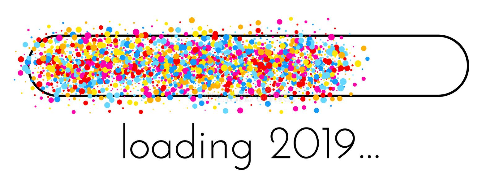 Loading 2019 New Year banner with colorful progress indicator. Loading 2019 New Year creative banner with colorful progress indicator. Vector background stock illustration