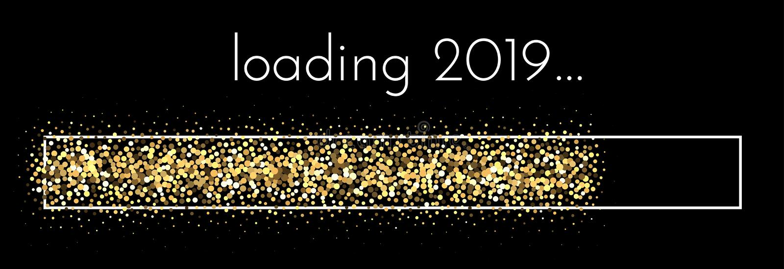 Loading 2019 New Year banner with golden progress bar. Loading 2019 New Year creative banner with golden progress bar. Vector background.r royalty free illustration