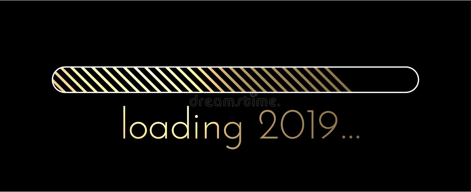 Loading 2019 New Year banner with golden progress indicator. Loading 2019 New Year creative banner with golden progress indicator. Vector background royalty free illustration
