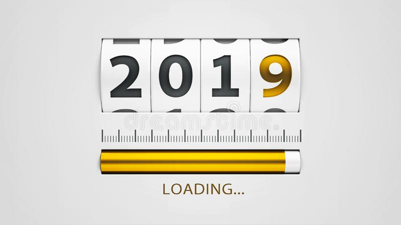 Loading New year 2019 counter #2. Design component of a counter dial that is showing loading new year 2019, three-dimensional rendering, 3D illustration royalty free illustration