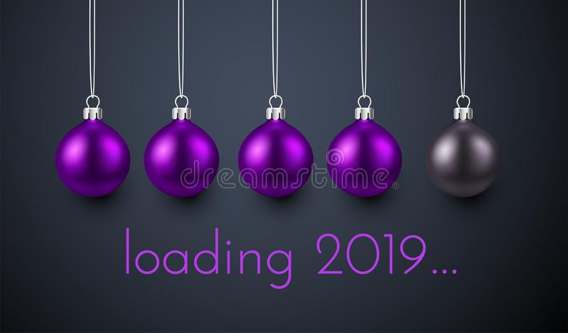 Loading 2019 New Year poster with purple Christmas balls. Loading 2019 New Year creative poster with progress bar made of purple Christmas balls. Vector royalty free illustration