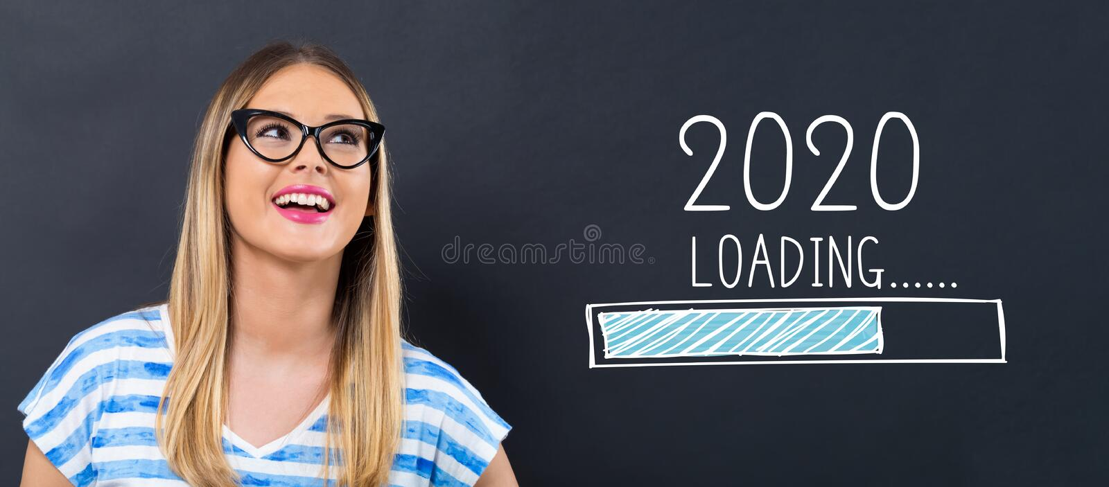 Loading new year 2020 with happy young woman royalty free stock photos