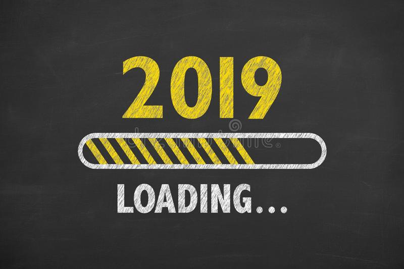 Loading New Year 2019 over Human Head. New year concepts stock illustration