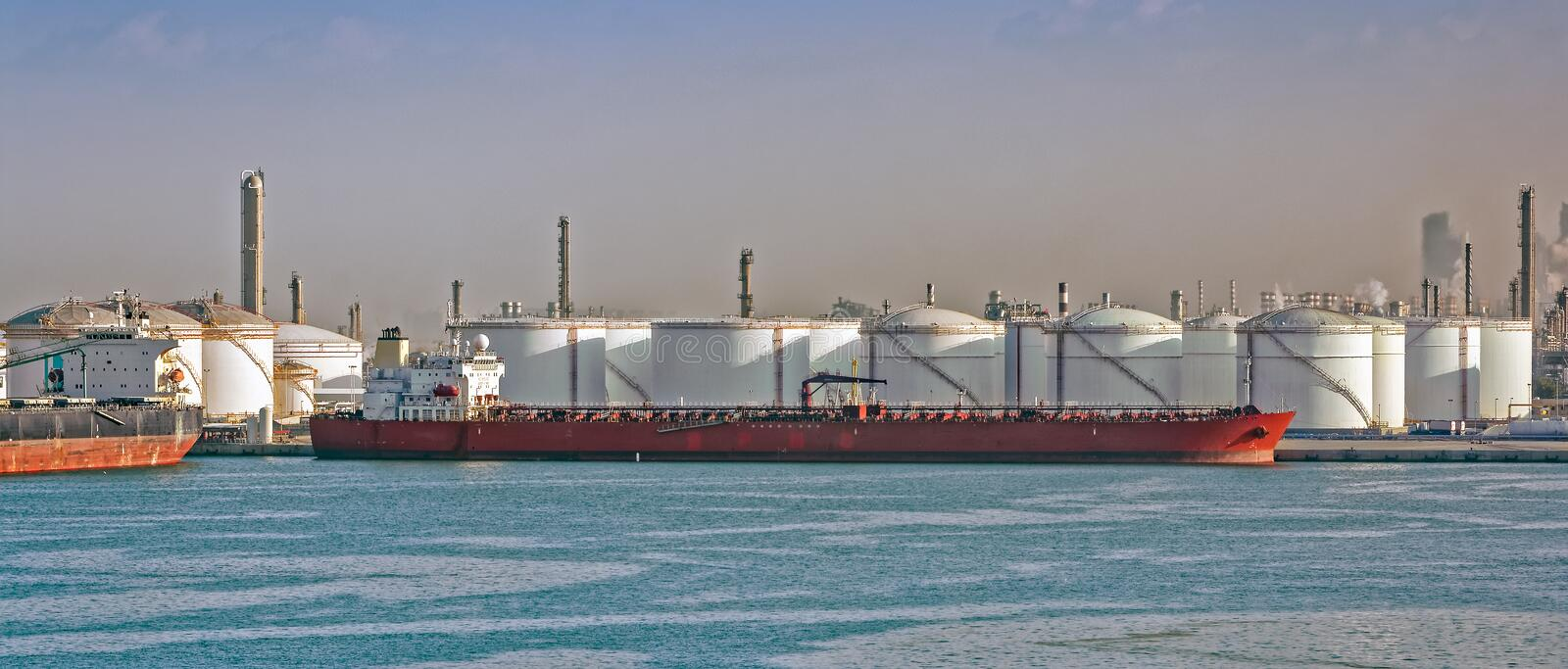 Loading oil supertanker stock photography