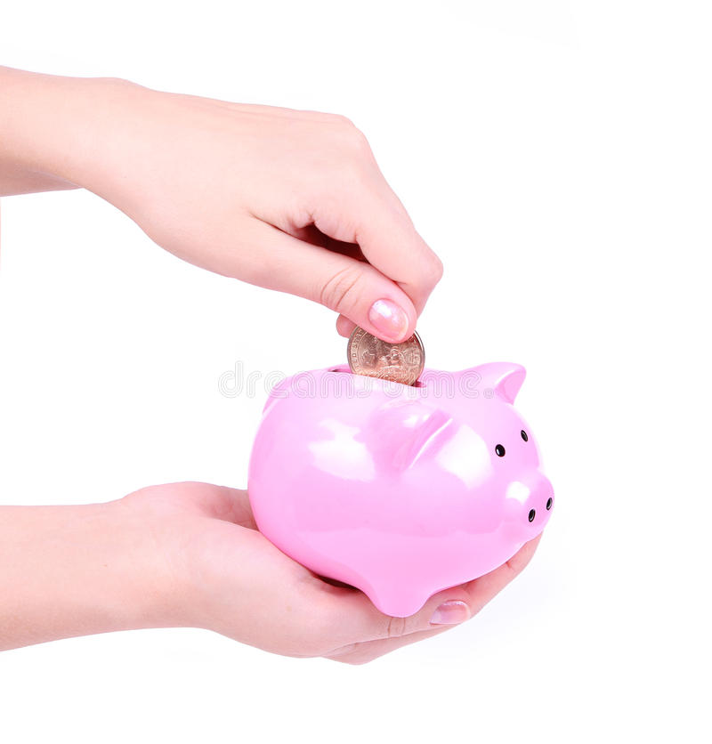 Download Loading A Piggy Bank Isolated On White Stock Image - Image: 26844699