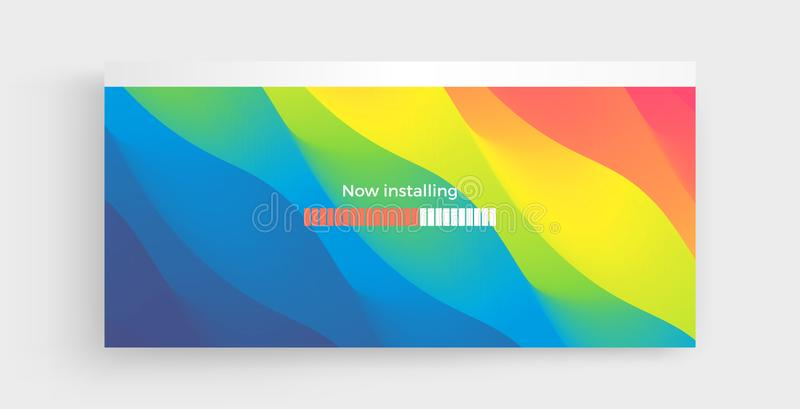 Loading process screen. Installing app or software. Progress loading bar. Abstract background with color gradients. 3d vector royalty free illustration