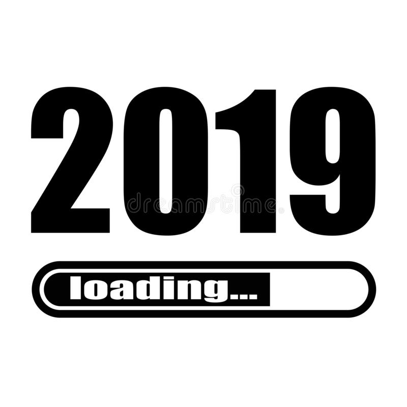 2019 loading with progress bar. Progress bar almost reaching new year`s eve. Vector illustration with 2019 loading.  royalty free illustration