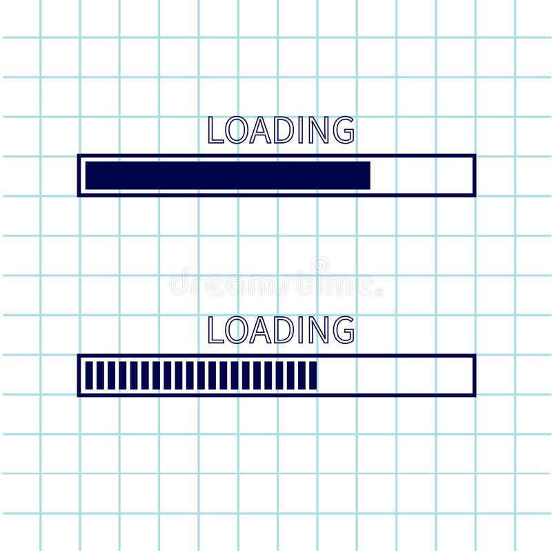 Loading progress status bar icon set. Web design app download timer. Notebook paper texture cell Squared blank sheet of copybook w vector illustration