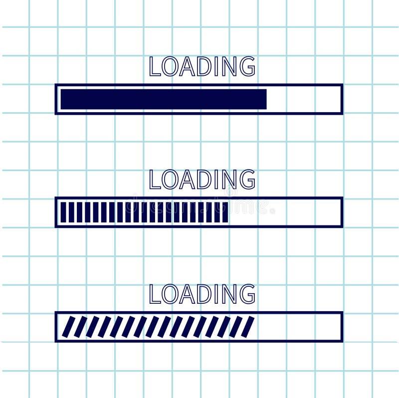 Loading progress status bar icon set. Web design app download timer. Squared blank sheet of copybook white background. Notebook pa stock illustration