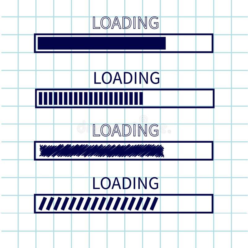 Loading progress status bar icon set. Web design app download timer. Squared blank sheet of copybook white background. Notebook pa vector illustration