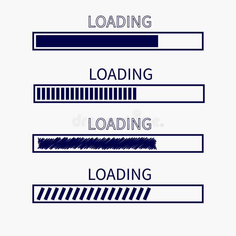 Loading progress status bar icon set. Web design app download timer. White background. Flat trendy scribble element. . royalty free illustration