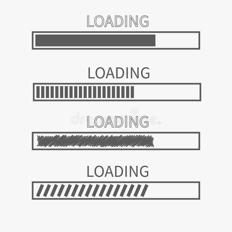 Loading progress status bar icon set. Web design app download timer. White background. Gray color. Flat trendy scribble element. I stock illustration