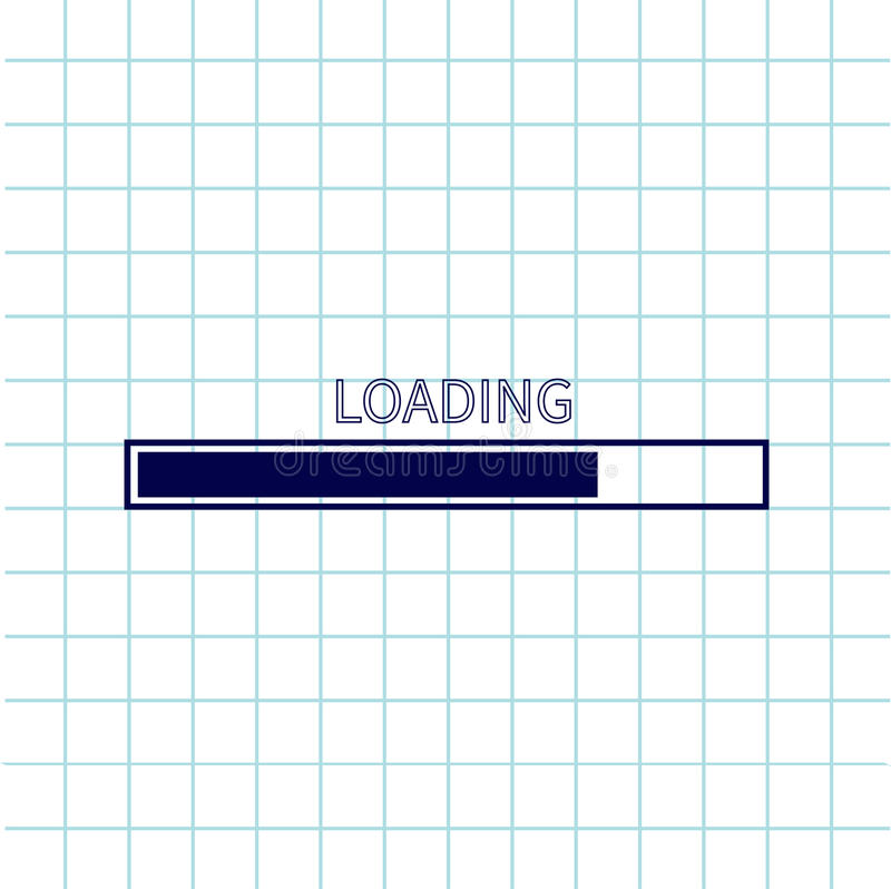 Loading progress status bar icon. Web design app download timer. Notebook paper texture cell Squared blank sheet of copybook white royalty free illustration