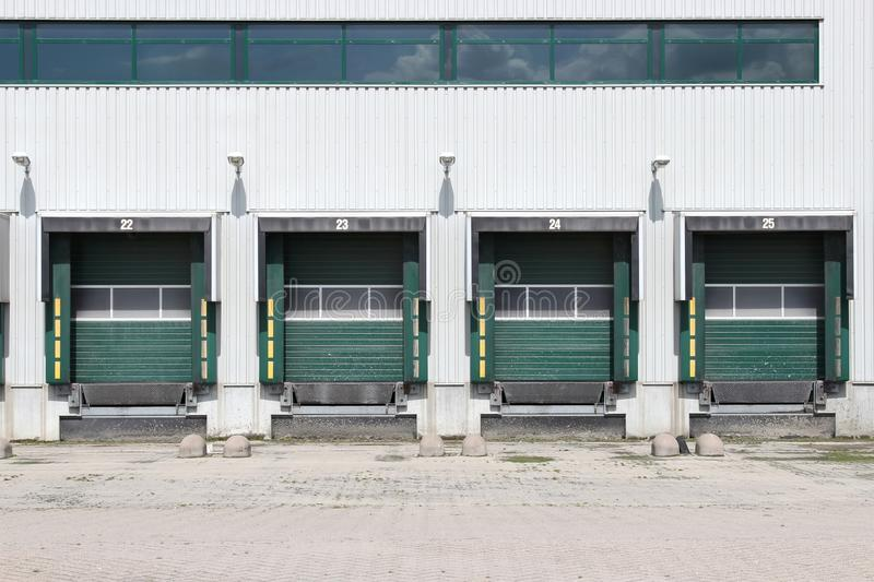 Loading ramps. Of a warehouse stock photography