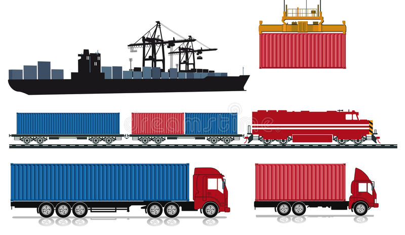 Loading and sending of containers. An illustration of ship, crane, train and lorries with cargo containers royalty free illustration