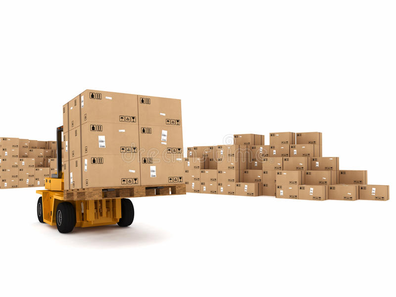 Loading stack of boxes. Small crane loading stack of packed boxes vector illustration