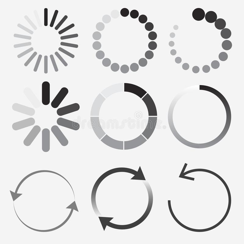 Loading status icons, round progress bar. vector stock illustration