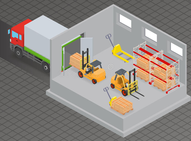Loading and unloading of goods in a warehouse using a forklift stock illustration