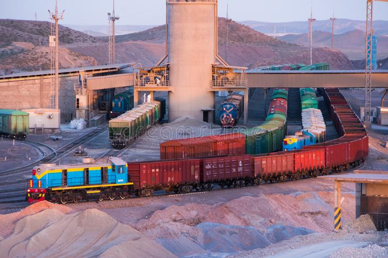 Loading and unloading station for freight trains at the cement plant royalty free stock images