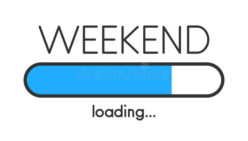 Loading weekend blue creative poster with progress bar. vector illustration