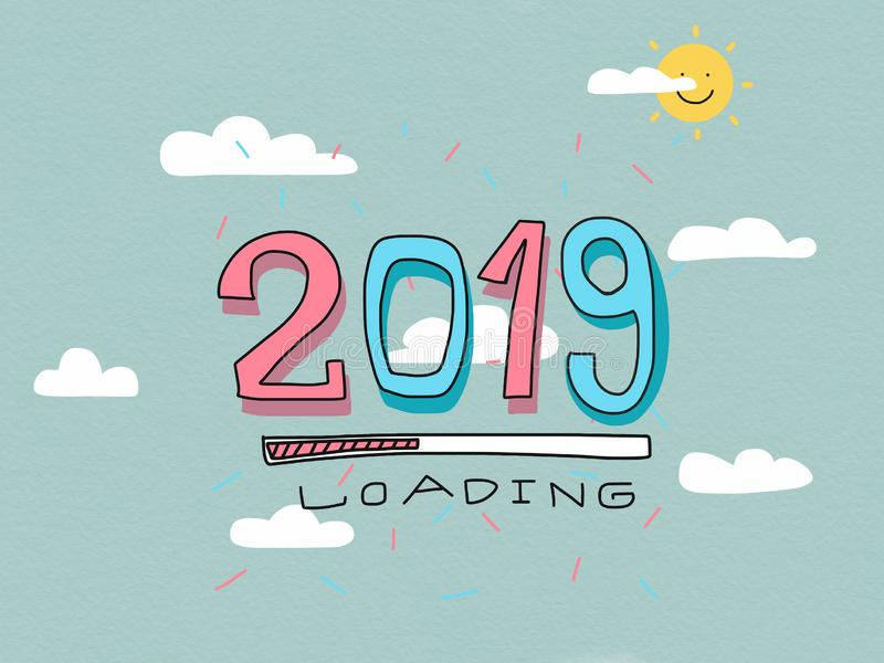 2019 loading word on sky and cloud watercolor painting illustration pastel tone royalty free illustration