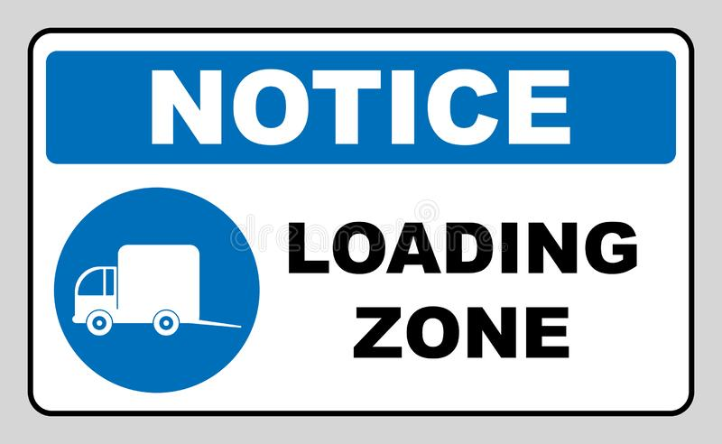Loading zone sign. illustration isolated on white. Blue mandatory symbol with white pictogram and black text. Notice. Informational banner vector illustration
