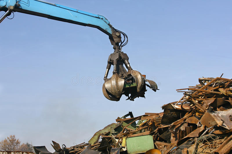 Loads of metal waste on the junkyard. To be recycled royalty free stock photo